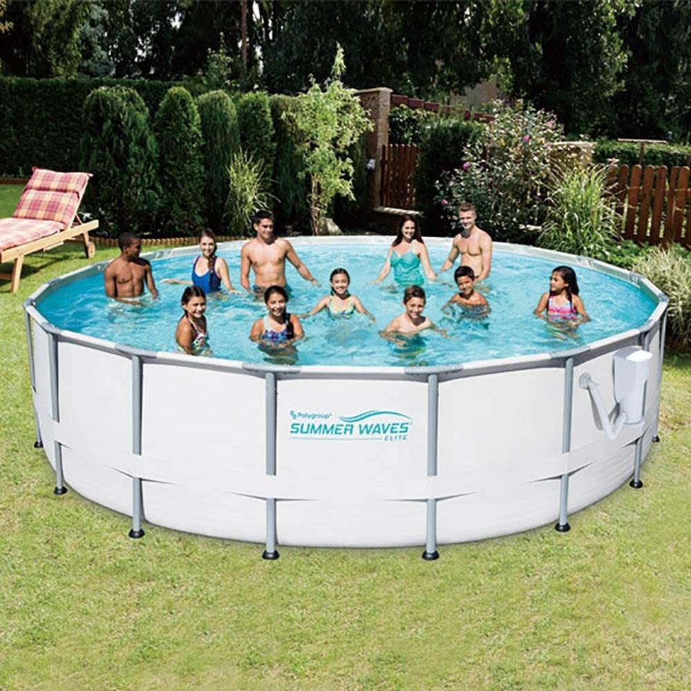 summer waves® 16ft elite frame pool with filter pump, cover, and ladder