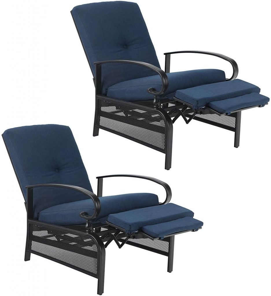 PHI VILLA Patio Lounge Chairs Outdoor Metal Relaxing Recliner Sofa Chair