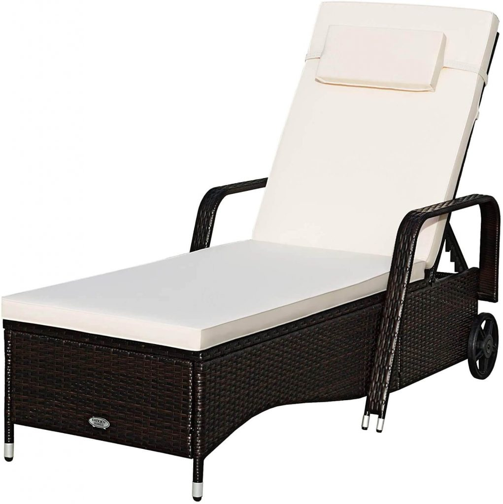 Tangkula Patio Reclining Chaise Lounge Outdoor