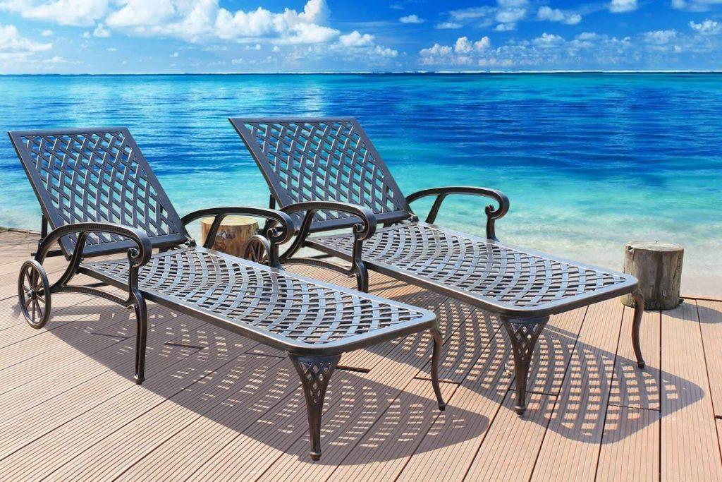 HOMEFUN Chaise Outdoor Aluminum Wheels Lounges Chair